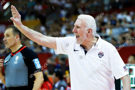 US head coach Gregg Popovich reacts during the FIBA Basketball World Cup 2019 group E first ?round? match between the USA and Turkey in Shanghai, China, 03 September 2019.