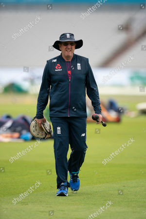 England coach Trevor Bayliss is seen during a nets session before the 4th Ashes Test cricket match between England and Australia at Old Trafford cricket ground in Manchester, England