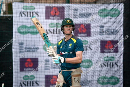 Australia's Cameron Bancroft bats during a nets session before the 4th Ashes Test cricket match between England and Australia at Old Trafford cricket ground in Manchester, England
