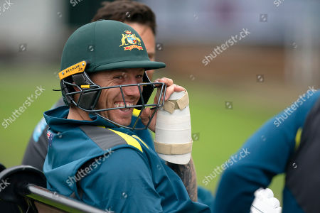 Australia's James Pattinson laughs during a nets session before the 4th Ashes Test cricket match between England and Australia at Old Trafford cricket ground in Manchester, England