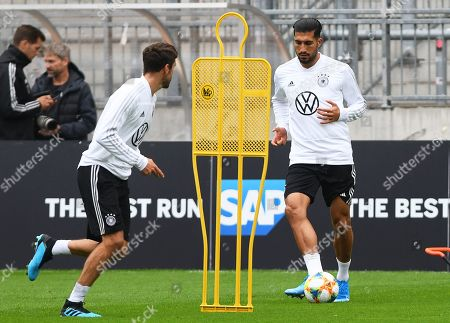 German national soccer team players Jonas Hector (L) and Emre Can (R) perform during their team's training session in Hamburg, Germany, 03 September 2019. Germany will face the Netherlands in their UEFA EURO 2020 qualifying soccer match on 06 September 2019.