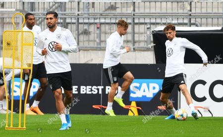 German national soccer team players (L-R) Jonathan Tah, Emre Can, Joshua Kimmich, and Leon Goretzka attend their team's training session in Hamburg, Germany, 03 September 2019. Germany will face the Netherlands in their UEFA EURO 2020 qualifying soccer match on 06 September 2019.