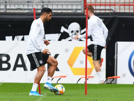 German national soccer team players Emre Can (L) and Marco Reus (R) perform during their team's training session in Hamburg, Germany, 03 September 2019. Germany will face the Netherlands in their UEFA EURO 2020 qualifying soccer match on 06 September 2019.