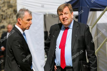 Nigel Evans MP for Ribble Valley (L) and John Whittingdale MP for Maldon (R) in College Green. MPs return to Westminster for a no deal showdown that could result in a snap election.