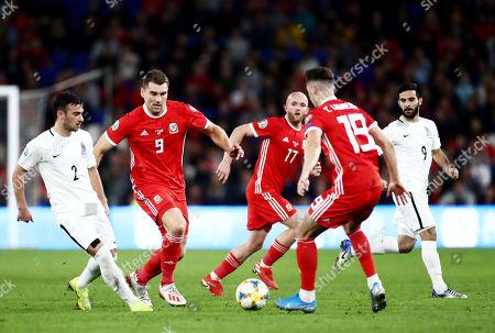 Sam Vokes of Wales and Gara Garayev of Azerbaijan.