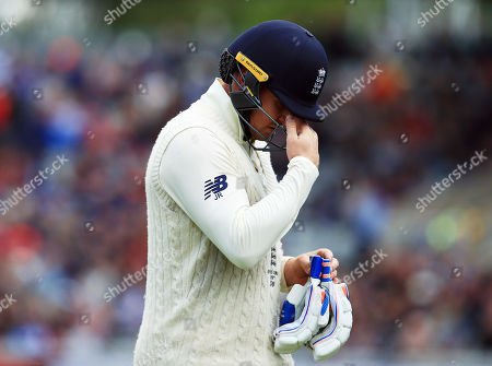 Jason Roy of England looks dejected after losing his wicket