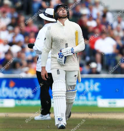 Stock Image of Jason Roy of England looks dejected after losing his wicket