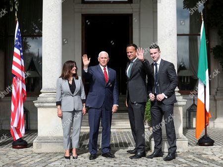 Stock Image of US Vice President Mike Pence and wife Karen Pence, left, meet with the Irish Prime Minister Leo Varadkar and his partner Matt Barrett, right, at Farmleigh House, Dublin, Ireland, . The Vice President is currently in Ireland for a two day visit