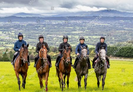 Champion jockeys, Joseph O'Brien, AP McCoy, Ruby Walsh, Paul Carberry and Charlie Swan are pictured together ahead of riding in the Pat Smullen Champions Race for Cancer Trials Ireland at the Curragh on Sunday September 15th. Five of the nine competing jockeys rode out at Joseph O'Brien's yard in Co. Kilkenny today to prepare for the charity race taking place at The Curragh as part of Longines Irish Champions Weekend. The race, organised by Pat Smullen, is taking place to raise awareness and funds for Cancer Trials Ireland. Nine-time Flat champion jockey, Pat Smullen was diagnosed with pancreatic cancer in March 2018 and is currently undergoing further treatment. The race will take place on day two of Irish Champions Weekend at The Curragh on Sunday, September 15th. Pictured today is (L-R) Champion jockeys, Ruby Walsh on Glen of Aherlow, AP McCoy, on Moment in History, Paul Carberry on Punches Cross, Charlie Swan on Shadow Seven and Joseph O'Brien on Abyssinian
