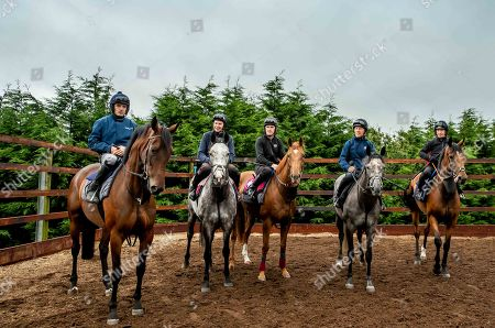 Champion jockeys, Joseph O'Brien, AP McCoy, Ruby Walsh, Paul Carberry and Charlie Swan are pictured together ahead of riding in the Pat Smullen Champions Race for Cancer Trials Ireland at the Curragh on Sunday September 15th. Five of the nine competing jockeys rode out at Joseph O'Brien's yard in Co. Kilkenny today to prepare for the charity race taking place at The Curragh as part of Longines Irish Champions Weekend. The race, organised by Pat Smullen, is taking place to raise awareness and funds for Cancer Trials Ireland. Nine-time Flat champion jockey, Pat Smullen was diagnosed with pancreatic cancer in March 2018 and is currently undergoing further treatment. The race will take place on day two of Irish Champions Weekend at The Curragh on Sunday, September 15th. Pictured today is (L-R) Champion jockeys, Ruby Walsh on Glen of Aherlow, Joseph O'Brien on Abyssinian, AP McCoy, on Moment in History, Charlie Swan on Shadow Seven and Paul Carberry on Punches Cross