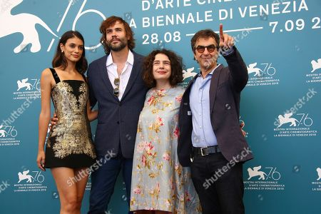 Atom Egoyan, Arsinee Khanjian, Rossif Sutherland, Laysla De Oliveira. Director Atom Egoyan, from right, actors Arsinee Khanjian, Rossif Sutherland and Laysla De Oliveira pose for photographers at the photo call for the film 'Guest of Honour' at the 76th edition of the Venice Film Festival in Venice, Italy
