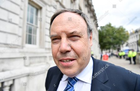 Deputy leader of the Democratic Unionist Party Nigel Dodds attends the Cabinet Office in central London, Britain, 03 September 2019. Britain's Prime Minister Boris Johnson faces a vote in Parliament from Conservative rebels who are joining with opposition parties in bringing forward a bill designed to stop Britain leaving the EU on 31 October without an agreement.