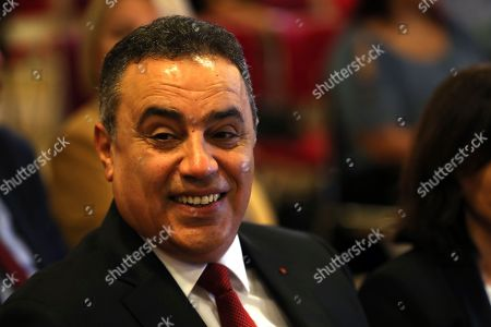 Former Tunisian prime minister and presidential candidate of 'Al Badil' party Mehdi Jomaa (C) attends an election campaign press conference in Tunis, Tunisia, 03 September 2019. The election campaign will run from 02 to 13 September. The first round of the presidential election in Tunisia will be held on 15 September.