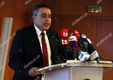 Stock Photo of Former Tunisian prime minister and presidential candidate of 'Al Badil' party Mehdi Jomaa speaks during an election campaign press conference in Tunis, Tunisia, 03 September 2019. The election campaign will run from 02 to 13 September. The first round of the presidential election in Tunisia will be held on 15 September.