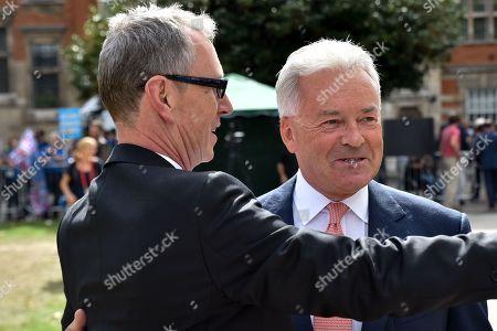 Nigel Evans, Alan Duncan, Conservative MPs. Politicians on College Green.