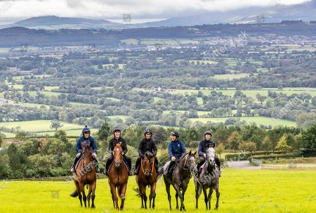 Trainer Joseph O'Brien Stables ahead of Pat Smullen Champions Race for Cancer Trial Photocall. Pictured today are (L-R) Champion jockeys, Ruby Walsh on Glen of Aherlow, AP McCoy, on Moment in History, Paul Carberry on Punches Cross, Charlie Swan on Shadow Seven and Joseph O?Brien on Abyssinian