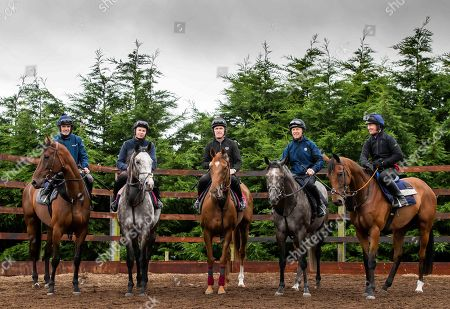 Trainer Joseph O'Brien Stables ahead of Pat Smullen Champions Race for Cancer Trial Photocall. Pictured today are (L-R) Champion jockeys, Ruby Walsh on Glen of Aherlow, Joseph O?Brien on Abyssinian, AP McCoy, on Moment in History, Charlie Swan on Shadow Seven and Paul Carberry on Punches Cross.