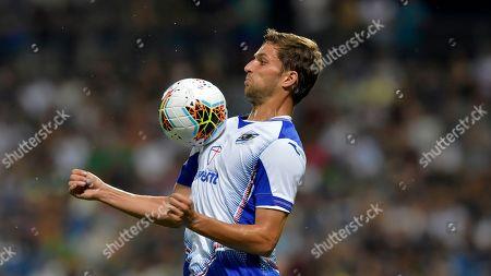 Sampdoria's Bartosz Bereszynski controls the ball during the Serie A soccer match between Sassuolo and Sampdoria at the Mapei stadium, in Reggio Emilia, Italy