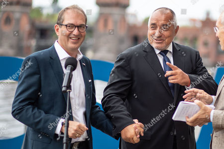 "Bulgarian Prime Minister Boyko Borissov (R) and Christian Social Union (CSU) regional group chairman in the German parliament Bundestag Alexander Dobrindt (L) attend a press conference during the CSU Bundestag faction convention ""#Kickoff"" in Berlin, Germany, 03 September, 2019. The event organized on the occasion of the opening of the second half of the political year and is expected to deal with issues like climate politics, mid-term review of the Grand Coalition (Groko) and the re-organization of the European Commission."