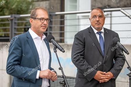 "Stock Photo of Bulgarian Prime Minister Boyko Borissov (R) and Christian Social Union (CSU) regional group chairman in the German parliament Bundestag Alexander Dobrindt (L) attend a press conference during the CSU Bundestag faction convention ""#Kickoff"" in Berlin, Germany, 03 September, 2019. The event organized on the occasion of the opening of the second half of the political year and is expected to deal with issues like climate politics, mid-term review of the Grand Coalition (Groko) and the re-organization of the European Commission."