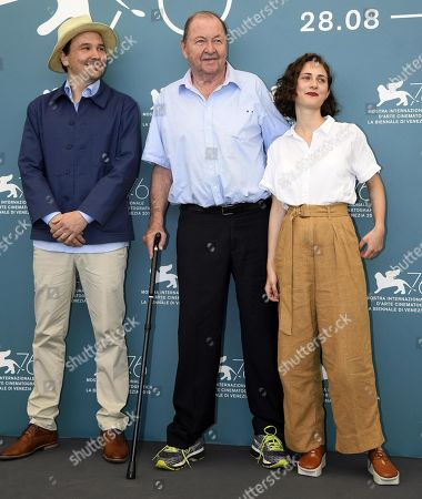 Roy Andersson (C), Swedish actor Anders Hellstrom (L) and actress Tatiana Delaunay (R) pose at a photocall for 'Om Det Oandliga (About Endlessness)' during the 76th annual Venice International Film Festival, in Venice, Italy, 03 September 2019. The movie is presented in the official competition 'Venezia 76' at the festival running from 28 August to 07 September.
