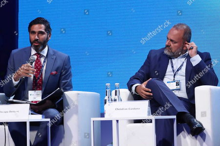 Stock Image of Deputy Editor of Financial Times Jacopo Dettoni (L) and Maltese politician Christian Cardona (R) attend the 29th Economic Forum in Krynica-Zdroj, southern Poland, 03 September 2019. 'The Europe of Tomorrow. 'Strong' Meaning What?? is the motto of the 29th Economic Forum. Some 4,500 international guests are expected to attend. The Forum's mission is to create a favourable climate for the development of political and economic cooperation between the EU member states and their neighbours. The Forum will run until 05 September.