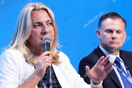 Stock Photo of President of Republika Srpska Zeljka Cvijanovic (L) speaks during the 29th Economic Forum in Krynica-Zdroj, southern Poland, 03 September 2019. 'The Europe of Tomorrow. 'Strong' Meaning What?? is the motto of the 29th Economic Forum. Some 4,500 international guests are expected to attend. The Forum's mission is to create a favourable climate for the development of political and economic cooperation between the EU member states and their neighbours. The Forum will run until 05 September.