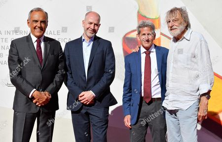 Film Festival Director Alberto Barbera, directors Graeme Scott, Buddy Squires and Gino Strada, founder of the aid group Emergency, arrive for a premiere of 'Beyond the Beach The Hell and the Hope' during the 76th annual Venice International Film Festival, in Venice, Italy, 03 September 2019. The movie is presented in the 'Sconfini' section at the festival running from 28 August to 07 September.