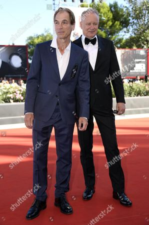 Julian Sands (L) and Swedish actor Stellan Skarsgard arrive for the premiere of 'The Painted Bird' during the 76th annual Venice International Film Festival, in Venice, Italy, 03 September 2019. The movie is presented in the official competition 'Venezia 76' at the festival running from 28 August to 07 September.