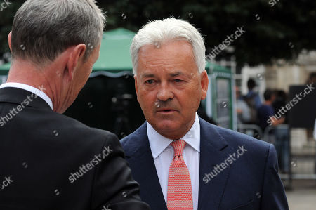 Stock Picture of Alan Duncan MP and Nigel Evans MP on College Green