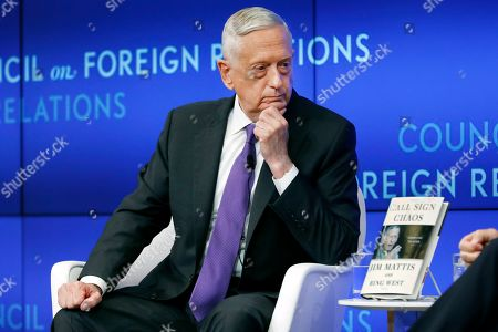 Former U.S. Secretary of Defense Jim Mattis listens to a question during his appearance at the Council on Foreign Relations, in New York