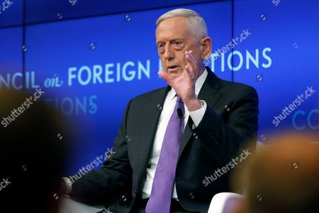 Former U.S. Secretary of Defense Jim Mattis speaks at the Council on Foreign Relations, in New York