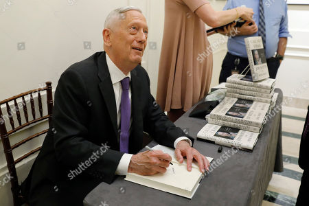 Stock Picture of Former U.S. Secretary of Defense Jim Mattis signs copies of his book after he spoke at the Council on Foreign Relations, in New York