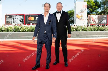 Julian Sands, Stellan Skarsgard. Actors Julian Sands, left, and Stellan Skarsgard pose for photographers upon arrival at the premiere of the film 'The Painted Bird' at the 76th edition of the Venice Film Festival, Venice, Italy