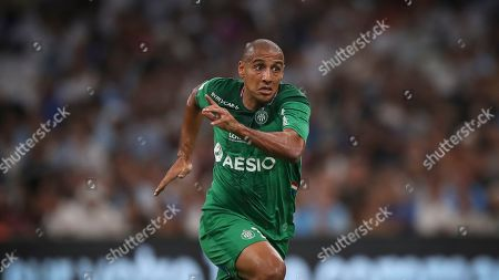 Saint-Etienne's Wahbi Khazri sprints for the ball during the French League One soccer match between Marseille and Saint-Étienne at the Velodrome stadium in Marseille, southern France