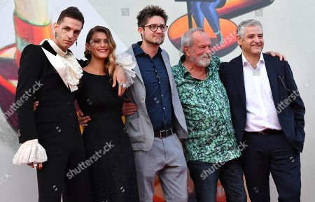 Italian singer Achille Lauro, Italian actress Jenny De Nucci, Italian director Lorenzo Giovenga, British filmmaker Terry Gilliam and Italian actor Fortunato Cerlino arrive for the premiere of 'Happy Birthday' during the 76th annual Venice International Film Festival, in Venice, Italy, 03 September 2019. The movie is presented in the 'Special Screenings' section at the festival running from 28 August to 07 September.
