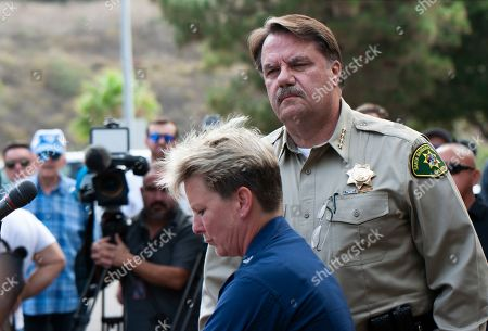 Monica Rochester, Bill Brown. Coast Guard Captain Monica Rochester, left, and Santa Barbara County Sheriff Bill Brown address the media outside the Santa Barbara County Sheriffs headquarters in Santa Barbara, Calif., . Officials say no one likely escaped the flames that tore through a boat packed with scuba divers and the search for survivors has been called off. Authorities said Tuesday that no one has been found alive. Only five of crew members sleeping on the top deck were able to escape early Monday