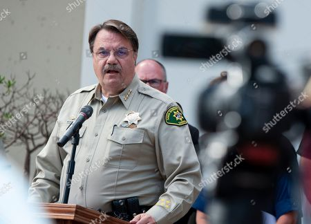 Santa Barbara County Sheriff Bill Brown addresses the media outside the Santa Barbara County Sheriff's headquarters in Santa Barbara, Calif., . Officials say no one likely escaped the flames that tore through a boat packed with scuba divers and the search for survivors has been called off. Authorities said Tuesday that no one has been found alive. Only five of crew members sleeping on the top deck were able to escape early Monday