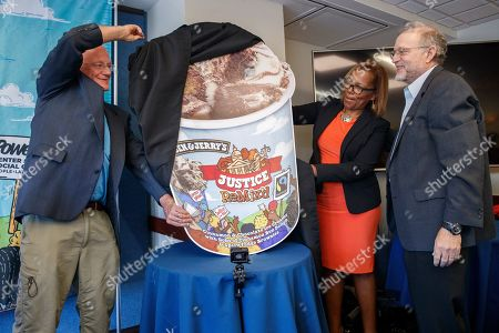 Ben Cohen (L) and Jerry Greenfield (R), Co-Founders of Ben & Jerry's and Judith Browne Dianis (C), Executive Director, Advancement Project National Office, unveil the company's newest flavor Justice ReMix'd during a press conference in the National Press Building in Washington, DC, USA, 03 September 2019. This flavor launch is part of Ben & Jerry's partnership with Advancement Project National Office to fight for justice for all, despite race or wealth.