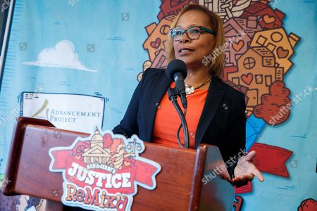 Judith Browne Dianis, Executive Director, Advancement Project National Office, delivers remarks prior to the unveiling of Ben & Jerry's newest flavor Justice ReMix'd during a press conference in the National Press Building in Washington, DC, USA, 03 September 2019. This flavor launch is part of Ben & Jerry's partnership with Advancement Project National Office to fight for justice for all, despite race or wealth.