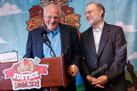 Ben Cohen (L) and Jerry Greenfield (R), Co-Founders of Ben & Jerry's, unveil the company's newest flavor Justice ReMix'd during a press conference in the National Press Building in Washington, DC, USA, 03 September 2019. This flavor launch is part of Ben & Jerry's partnership with Advancement Project National Office to fight for justice for all, despite race or wealth.