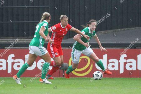 Emma Jones of Wales takes on Freya Holdaway of Northern Ireland