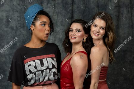 """Aisha Dee, Katie Stevens, Meghann Fahy. This photo shows cast members Aisha Dee, from left, Katie Stevens and Meghann Fahy posing to promote Freeform's """"The Bold Type"""" in Burbank, Calif"""