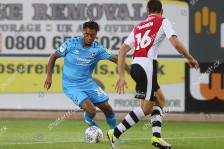 Tahvon Campbell and Gary Warren   during the EFL Trophy match between Exeter City and Cheltenham Town at St James' Park, Exeter