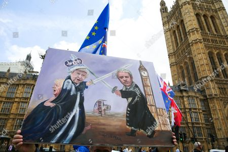 A piece of satirical artwork by Artist Kaya Mar showing the Queen, Speaker John Bercow and Prime Minister Boris Johnson outside Parliament