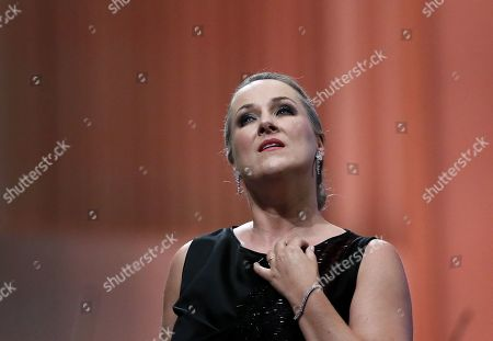 German operatic soprano, Diana Damrau, together with The London Symphony Orchestra (LSO), performs the Final Scene of Richard Strauss' opera 'Capriccio' during the George Enescu International Festival 2019, in Bucharest, Romania, 03 September 2019. The festival, held since 1958 every two years, is the biggest classical music festival held in Romania, in honor of Romanian composer and violinist George Enescu. The 24th edition of the George Enescu International Festival takes place between 31 August and 22 September 2019.