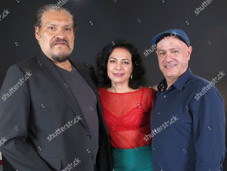 "Actors Joaquin Cosio left, and Giovanna Zacarías, center, pose with director Alejandro Springall of the Mexican film ""Sonora"", in Mexico City. ""Sonora"", a film about a perilous journey in the Mexican desert, premieres on Sept. 6 in Mexico"