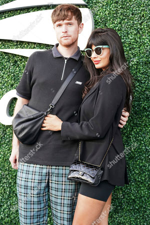 James Blake, Jameela Jamil. James Blake, left, and Jameela Jamil attend the quarterfinals of the U.S. Open tennis championships, in New York