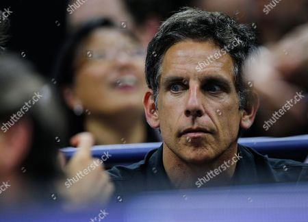 Ben Stiller sits in the player's box of Rafael Nadal as he watches Rafael Nadal of Spain play against Diego Schwartzman of Argentina in the quarterfinals in the Arthur Ashe Stadium