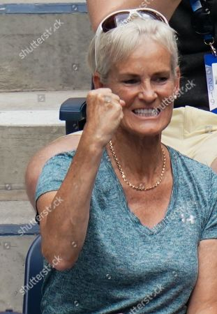 Judy Murray celebrates in the stands of the Louis Armstrong Stadium as she watches Jamie Murray and Neal Skupski play in the Men's Doubles quarterfinal